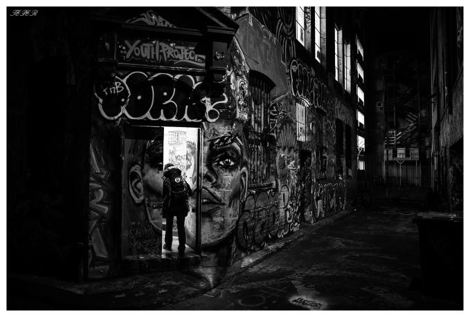 The secret door on Hosier Lane, Melbourne. 5D Mark III   24mm 1.4 Art.