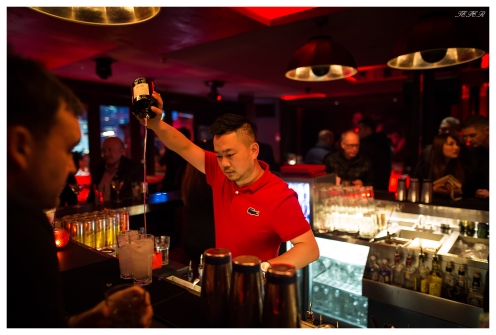 The barman does his stuff at one of Shanghai's best bars. Fantastic roof top bar. 5D Mark III | 24mm 1.4 Art