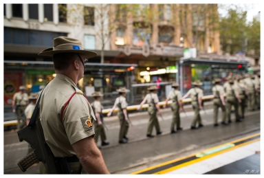 Anzac Day Drill Sargent watches the ranks, 5D Mark III | 24mm 1.4 Art