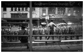 Anzac Day 2015 Pep talk at the tram stop before the off, 5D Mark III   24mm 1.4 Art