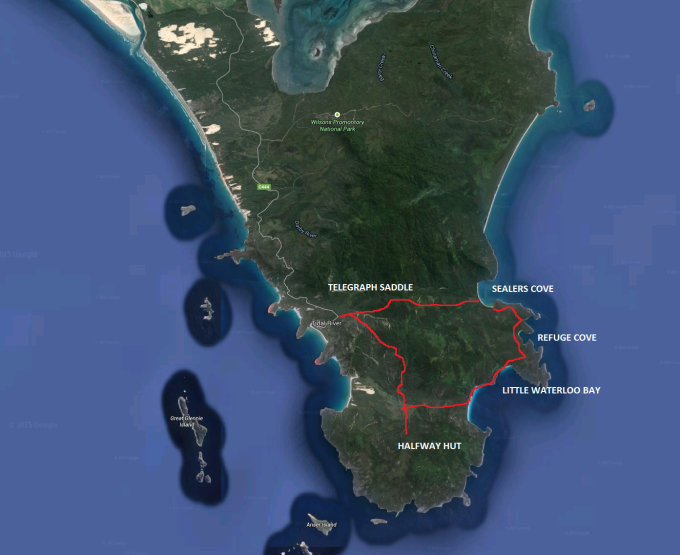 Wilsons Promontory Hiking route. 4 days.