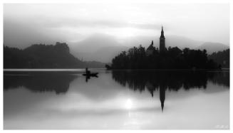 Lake Bled at dawn. 5D Mark III   45mm 2.8 TS-E   B+W CPL
