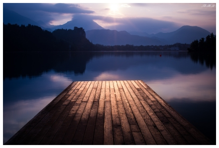 Lake Bled jetty at dawn. 5D Mark III | 45mm 2.8 TS-E | B+W CPL