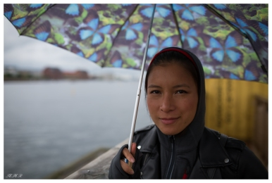 Vanessa less than impressed with the weather. Paper Island. 5D Mark III   35mm 1.4 Art