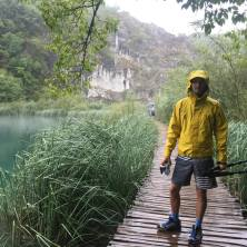 The nessisary outfit... Certainly not cold, but the rain meant boardshorts and rainjacket. You can see here the waterproof case and tripod which I use.