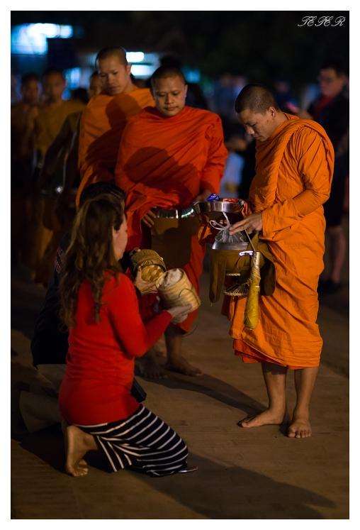 The feeding of the Monks. Luang Prabang, Laos 5D Mark III   85mm 1.2L II   iso 3200